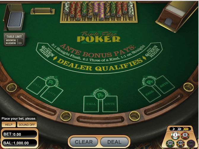 Triple Edge Poker - игровой автомат